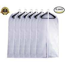 Garment Bag Clear, Dust Bags Cover Moth Proof for Clothes Storage Suits Dress Dance Zippered Breathable Pack of 6 (6, XL - 24 x 48)