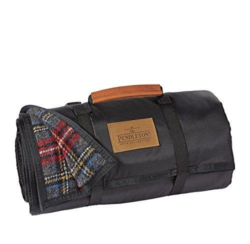- Pendleton Charcoal Stewart Tartan Plaid Roll-Up Wool Blanket