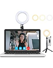 6 inch Videoconferentie Verlichting Kit,Ring Licht voor Computer Laptop,met Statief,3 Dimmable Color&USB Powered for Remote Working, Distance Learning, Zoom Call, Live Broadcast Lighting, Verzinnen