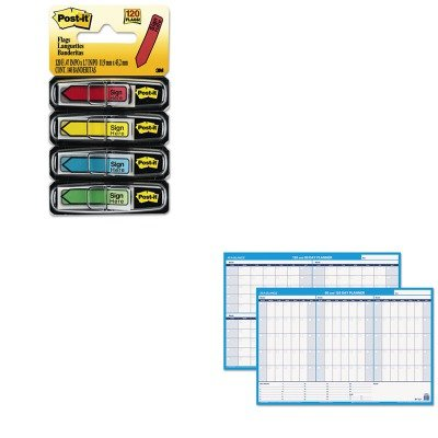 KITAAGPM23928MMM684SH - Value Kit - At-a-Glance Recycled 90/120-Day Undated Horizontal Erasable Wall Palnner (AAGPM23928) and Post-it Arrow Message 1/2quot; Flags (MMM684SH)