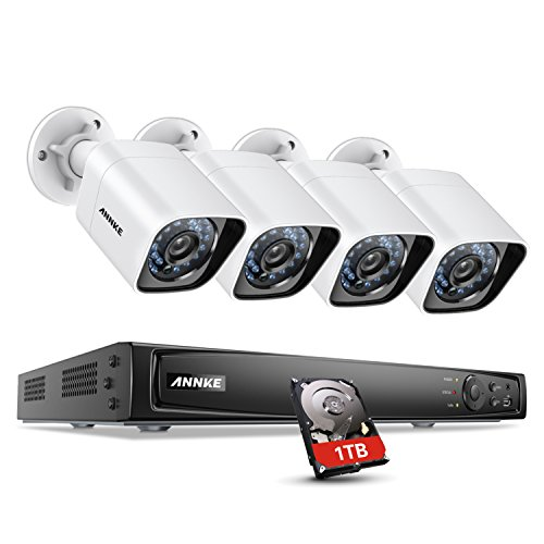 ANNKE 1080P/2MP/3MP/4MP/5MP/6MP POE Securuty Camera System 4ch Network Video Recorder with 1TB HDD and (4) Full HD 1080x1920p Weatherproof IP Cameras, 100ft Night Vision, Motion Detection, White