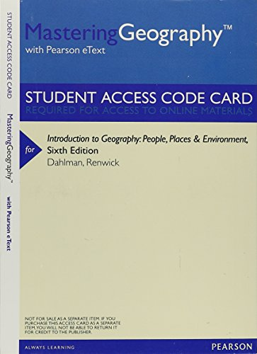 MasteringGeography with Pearson eText -- ValuePack Access Card -- for Introduction to Geography: People, Places & Environment