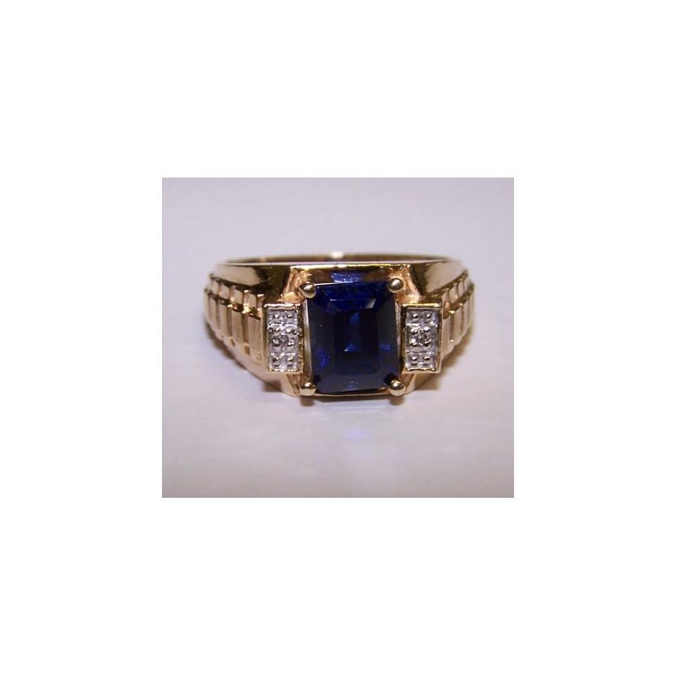 Mens 10k Yellow Gold Sapphire & Diamond Ring