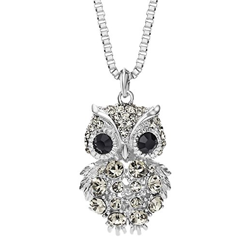 "Neoglory Black Zircon Rhinestone Owl Adjustable Long Pendant Necklace 32"" Mother's Day"
