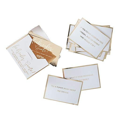 Wedding Games Wedding Decorations Table Decorations Trivia Ice Breaker Game Pack of 25 Cards, 4