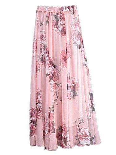 Haililais Femme Jupe Longue ElGant Jupe De Plage Hipster Femelle Skirt Imprimer Floral Vintage Jupe Mousseline t Confortable Jupe Pink