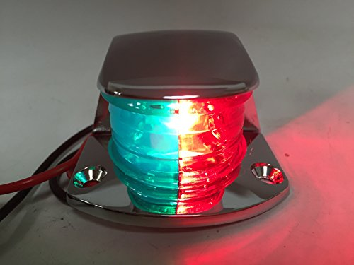 (Marine Boat Navigation RED Green Chrome Plated HOUSING BI-Color Bow Light Bulb)
