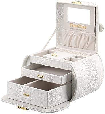 Finether-Joyero Bloqueable(Caja para Joyas,Estuche Arqueado para Guardar Comésticas, Espejo y Cajones,Textura de Cuero de Cocodrilo,Tapa Elevable,) Blanco: Amazon.es: Hogar