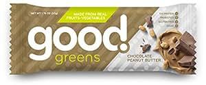 good! greens Gluten-Free Vegan Protein Bar, Chocolate Peanut Butter, 12 Count