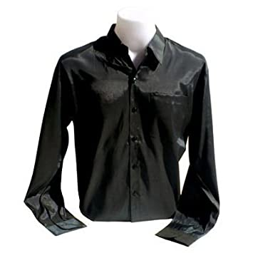 Men's Thai Silk Shirt Long Sleeved / Sleeves in Black Size XL ...