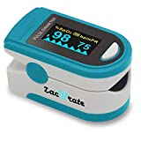 Zacurate Pro Series 500D Deluxe Fingertip Pulse Oximeter Blood Oxygen Saturation Monitor with Silicon Cover, Batteries and Lanyard (Light Blue)