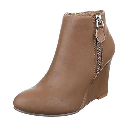 Ital-Design Damen Schuhe, C212, Stiefeletten Keil Wedges Hellbraun