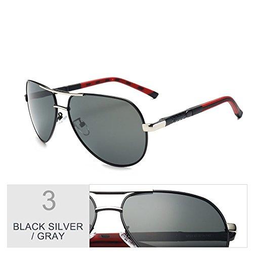 Gun Para TIANLIANG04 Gafas Aviador Polarizadas Silver Gray Sol Hombres Espejo Lentes De Oval Black Gris qvqUZwIx