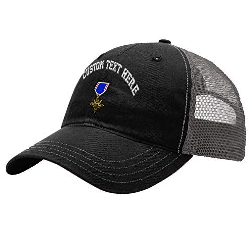 Custom Trucker Hat Richardson Distinguished Service Cross Embroidery Design Cotton Soft Mesh Cap Snaps Black/Charcoal Personalized Text Here