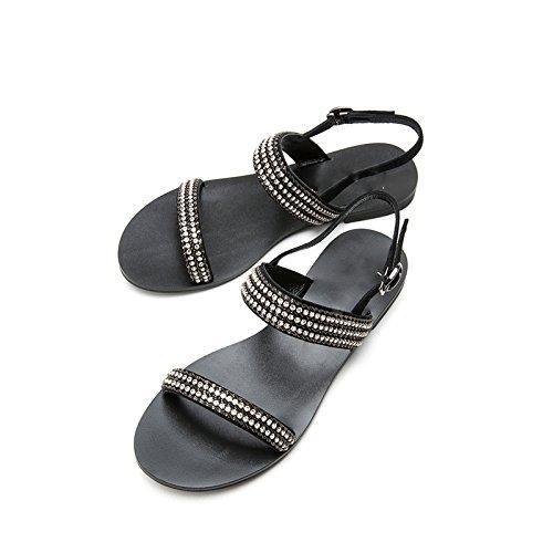 Nero alti moda Sandali Sandali Tacchi tacco piatti Pantofole con alla estivi 38 a tacco basso DHG basso casual da donna Sandali dHnYUY0S
