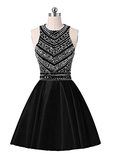 Dress CLZ21 Lady Black Sparkly Scoop Gowns Dresses Crystals Prom Satin Beaded Party Juniors Homecoming A for line Women's Short BwqSwg