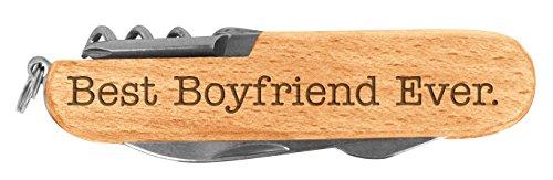 Boyfriend Gifts Best Boyfriend Ever Boyfriend Birthday Gifts Anniversary Gifts for Boyfriend Laser Engraved Wood 6 Function Multitool Pocket Knife