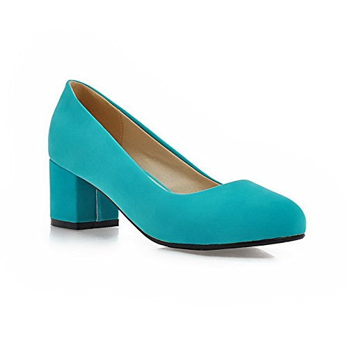 BalaMasa Womens Chunky Heels Low-Cut Uppers Round Toe Imitated Suede Pumps-Shoes Green V6DvzU
