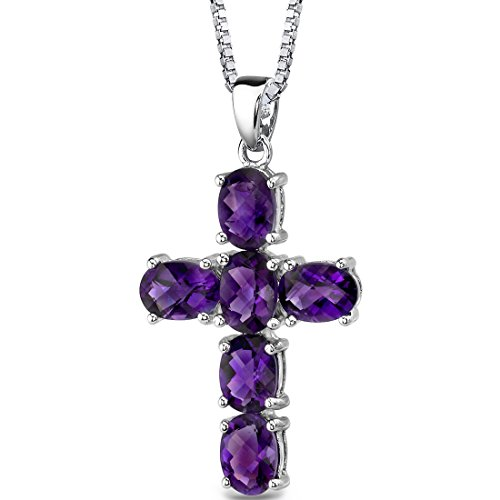 Amethyst Cross Pendant Necklace Sterling Silver Rhodium Nickel Finish 4.50 Carats