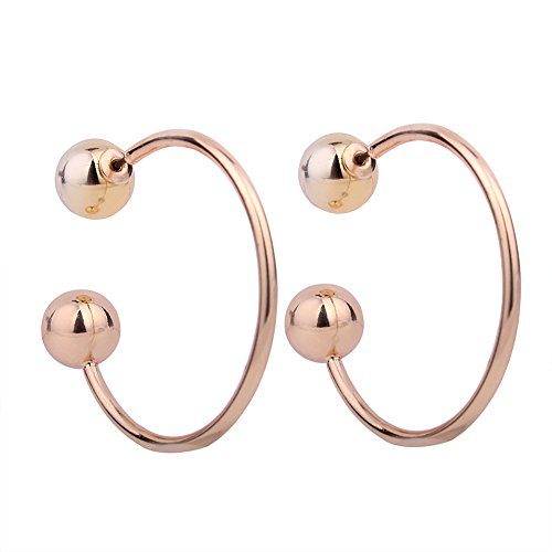 ShiningLove Women Lady Simple Semicircle Pure Color Earrings Alloy Texture Eardrop Dual Purpose Ear Stud Gold - Simple Semi Circle