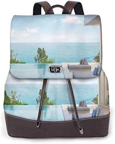 Women's Leather Backpack,Modern Minimalist Design Beach Summer House with Ocean Print,School Travel Girls Ladies Rucksack