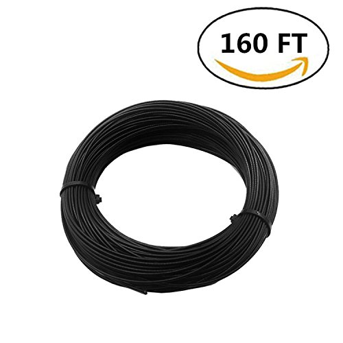 NITOO Stainless Steel 304 Black Wire Rope, Vinyl Coated, 7x7 Strand Core, Cable Bare OD is 1/16