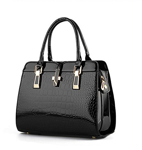 New QCKJ-Lorenz-Borsa a tracolla da donna in massello, colore: nero