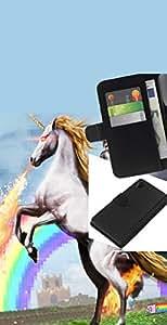 KLONGSHOP // Tirón de la caja Cartera de cuero con ranuras para tarjetas - Espacio Gato Riding Unicornio - Sony Xperia Z2 D6502 //
