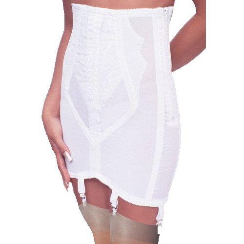 Rago Women's Plus-Size High Waist Open Bottom Girdle with Zipper, White, 3X-Large (36)