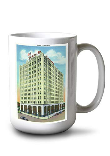 Lantern Press Amarillo, Texas - Exterior View of The Santa Fe Building (15oz White Ceramic Mug) ()