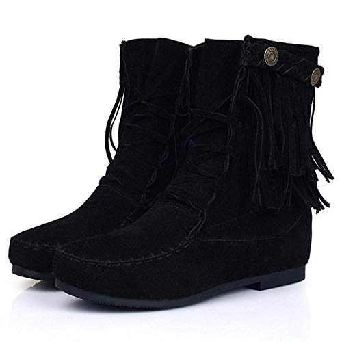 Ankle Fringe Women Height Increasing Black High Boots Coolcept TB7CnT1