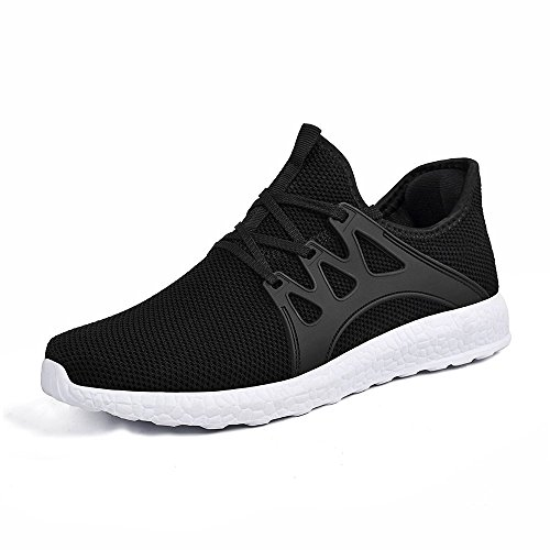 Mxson Womens Gym Shoes Ultra Lightweight Breathable Mesh Running Walking Shoes Black White 7B(M) US by Mxson