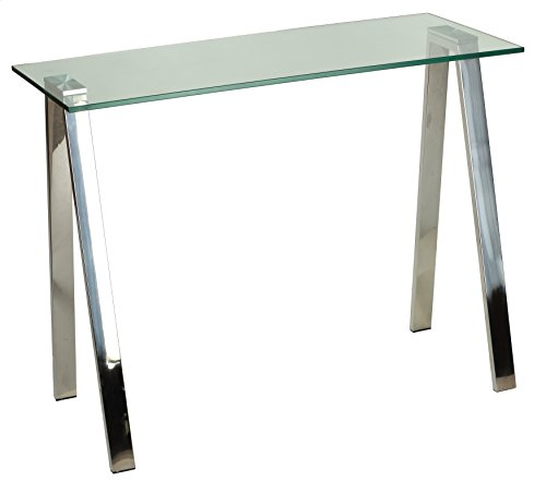 Cortesi Home Trixie Glass Top Desk with Stainless Steel Frame