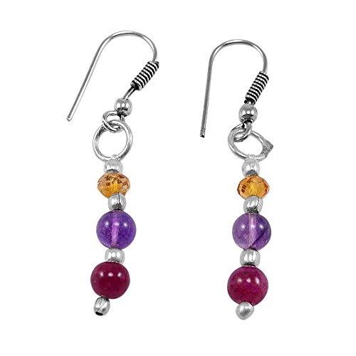 Jade Pink Earrings (Silvestoo Jaipur Pink Jade, Amethyst & Citrine Earring PG-130769)
