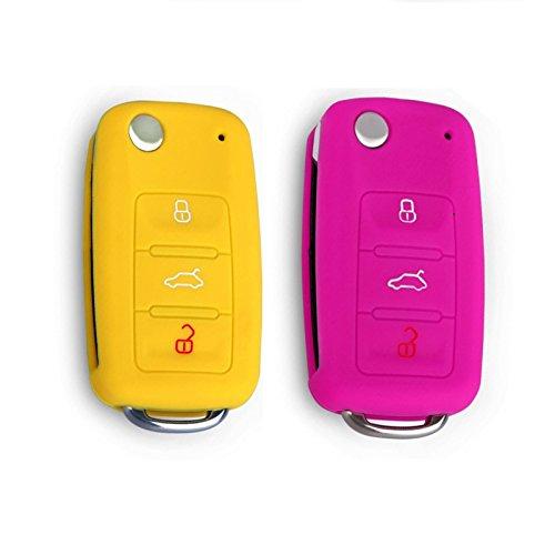 4 opinioni per 2 Pezzi VW SKODA SEAT 3 pulsanti Silicone Custodia di protezione per chiave auto