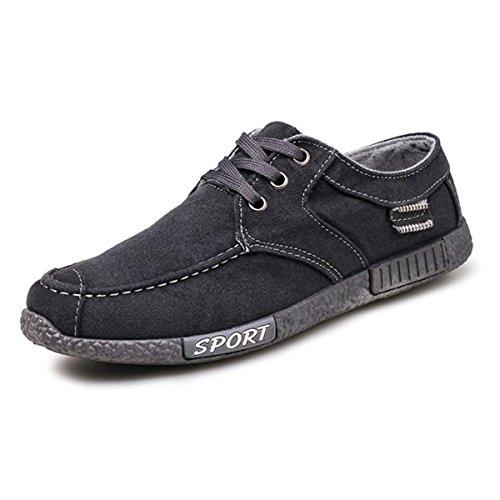 Segeltuch-beiläufige Schuhe, Gracosy klassische Art-Breathable schnüren sich oben Segeltuchschuhe Niedrige Spitzen Turnschuhe Sport-Läufer-Skate-Schuhe Grau