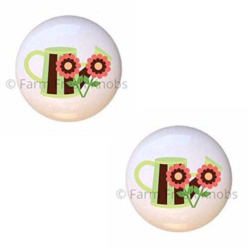 SET OF 2 KNOBS - Pitcher Design #2 from Spring Owls 3 Collection - DECORATIVE Glossy CERAMIC Cupboard Cabinet PULLS Dresser Drawer KNOBS