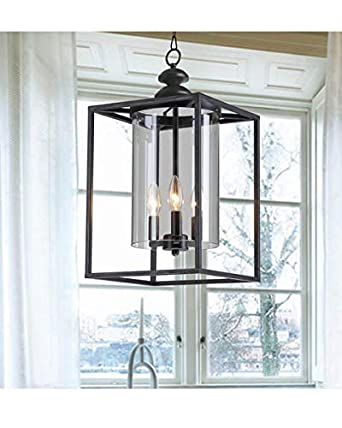 Jojospring La Pedriza Antique Black 3-Light Glass and Metal Chandelier