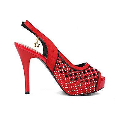 LvYuan Mujer-Tacón Stiletto-Zapatos del club-Sandalias-Boda Vestido Fiesta y Noche-Vellón-Negro Marrón Amarillo Rojo Red