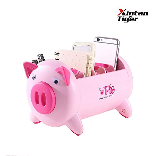 - Xintan Tiger Creative Storage Box Pig Shape Has 4 Removable Compartments Desktop Storage Box Supplies Desktop to Receive Office School Home Storage Various Supplies or As Gift