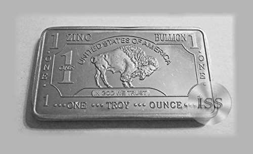 Fine .999 (Zinc) Buffalo Bison Bars Each Weighs 1 Troy Ounce Ingot, Superb Addition to Metal Collection, Part of a Unique Collectable Series Iconic Design Pure Fractional Industrial (Zinc)