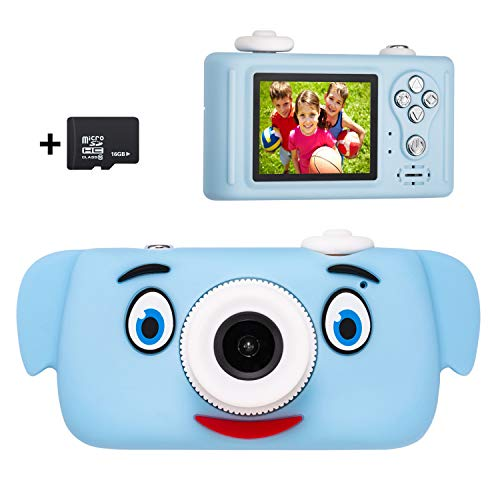 omzer Toys Camera for Kids Boys, Shockproof Cute Pig Cover Child Camcorder with 2 Inch HD Screen for 3-7 Years Old Boys Girls, Great Gifts for Birthday Holiday, Blue(16GB Memory Card Included)