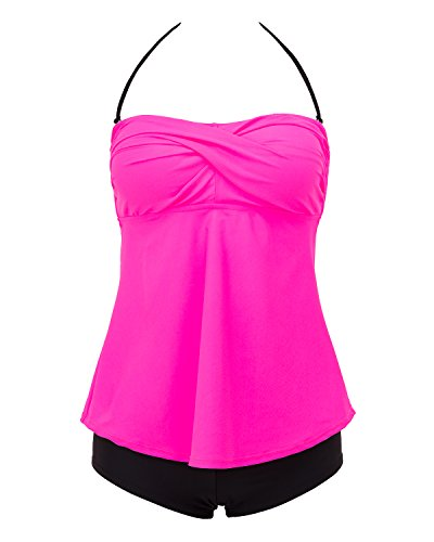 Lorasea Women's Bandeau Ruched Tankini Tops Swimsuit Padded Bathing Suits with Briefs (Pink,XXL)