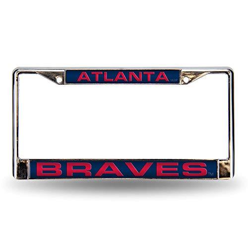 - Rico Atlanta Braves Blue MLB Chrome Metal Laser Cut License Plate Frame
