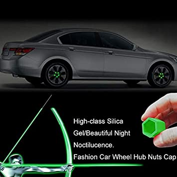 20pcs Car Styling Silica Gel Wheel Nuts Covers Protective Bolt Caps Hub Screw Protector 17mm 19mm 21mm Green Glow In The Dark Size : 19mm W-Nuan-Jun