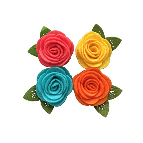 Yazon Mini Felt Rose Flower With Leaf Baby Girls Hair Flower Accessories