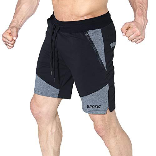 BROKIG Men's Athletic Gym Workout Sport Shorts Side-Zip Pockets (Large, Black)