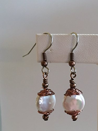 Brass Pearl Earrings (Pearl Earrings/21 Brass Wrap - Freshwater Coin Pearl, Hand Wrapped & Finished with Shiny Bright Copper Accents - Surgical Steel French Hooks)
