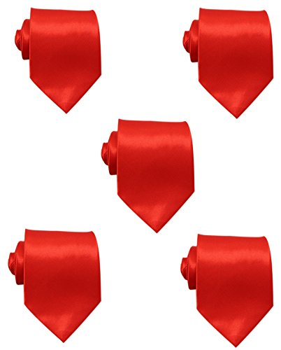Mens Solid Satin 3.9 Inch Wide Formal Necktie Pack 5 For Wedding By JAIFEI (Red)