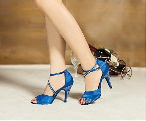 Heels Women's Ballrom Studded Satin Dance Tango Doris Shoes Salsa Modern Latin Blue Wedding Diamond Sandals ZXfdzqw